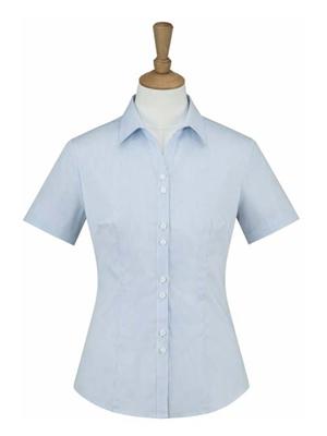 MTV-209蓝条女短袖衬衫
