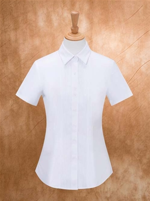 MTV-262白斜女短袖衬衫(有拼条)