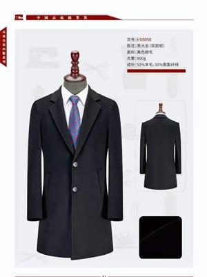 男士秋冬毛大衣双面-HS5050-900g-黑色顺毛-50%羊毛50%聚酯纤维