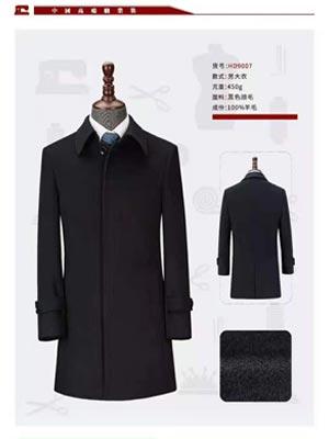 男士秋冬羊毛大衣-HD9007-450g-黑色顺毛-100%羊毛